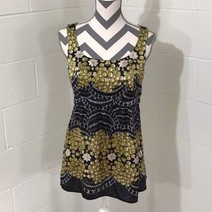 CAbi PEARLS & CHAINS SILK TANK, Size Small
